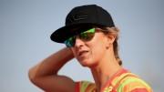 DUBAI, UNITED ARAB EMIRATES - FEBRUARY 26:  Meredith Kessler of USA racks her bike ahead of the Challenge Triathlon Dubai on February 26, 2015 in Dubai, United Arab Emirates. (Photo by Stephen Pond/Getty Images for Challenge Triathlon)