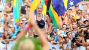 Winner Miranda CARFRAE (AUS) applause 2nd Daniela RYF (SUI) crossing the finishline of the 2014 GoPro Ironman World Championship in Kailua-Kona,HI on October 11, 2014