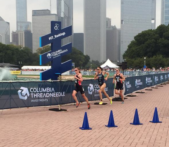 Jorgensen, Holland, and Stanford on the run in Chicago. (Courtesy: ITU)