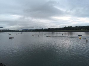 Swim start for the pros - how's that current? Credit @HeidiRuns