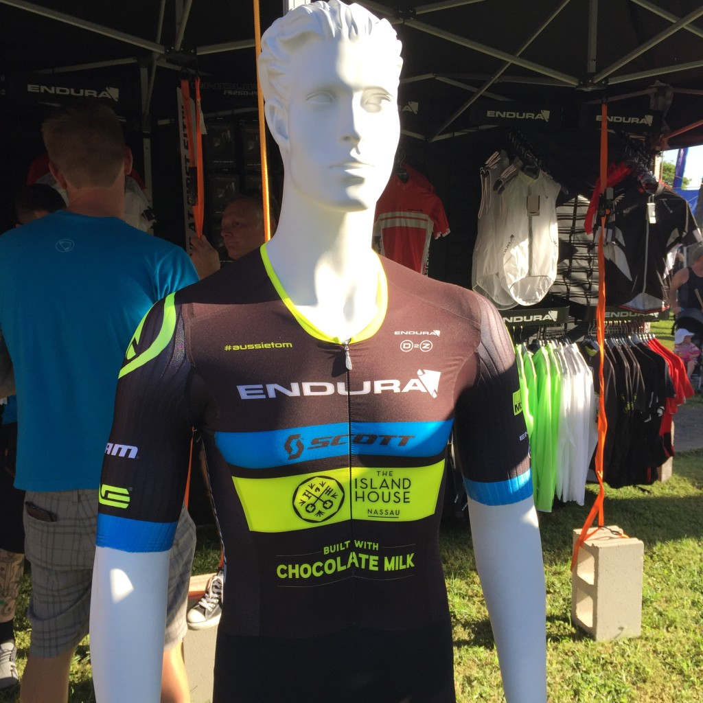 Luke McKenzie shows off his Endura race suit. He rocked SPF 100 all week.