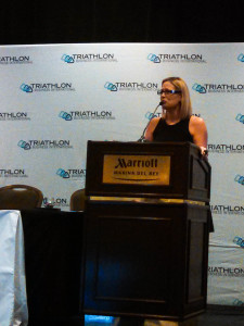 Kyrsten Sinema talks about doing her first triathlon despite not knowing how to swim. A common problem for women.
