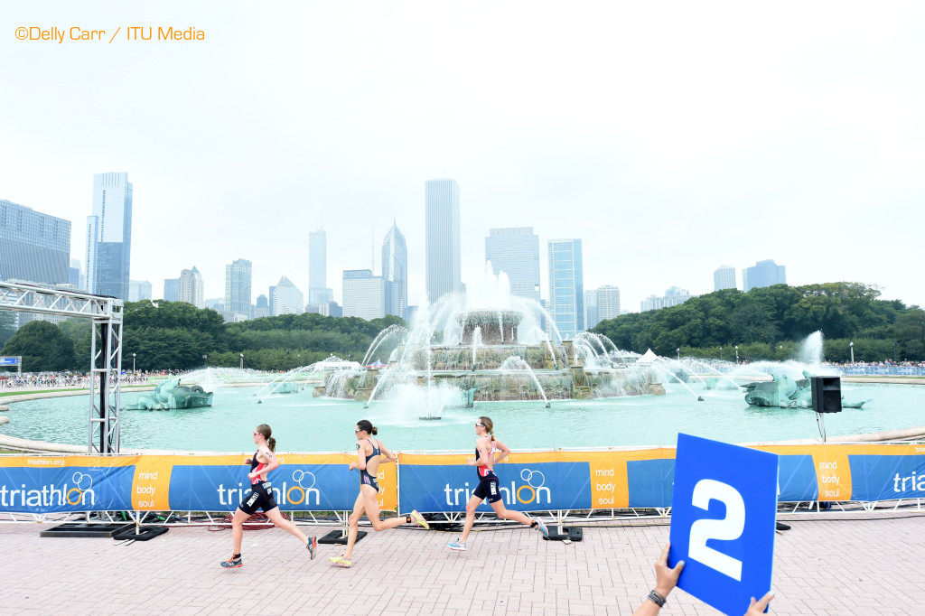 Gwen Jorgensen, Non Stanford, and Vicky Holland, running at 2015 WTS Chicago